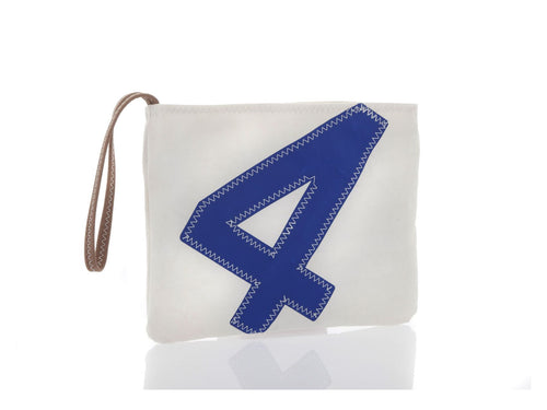 Clutch bag made from 100% recycled Dacron sail, adorned with an oversized blue number '4' on the front.