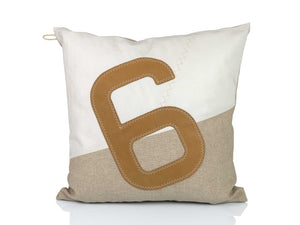 This 100% recycled sailcloth and linen cushion comes in a natural-style design with an oversized camel number '6' at the front . It's a truly unique creation, made from 100% recycled sailcloth - completely in tune with our environment, and in close touch with the world's top yachtsmen. A perfect addition to your kiwi bach, yacht, or indeed outdoor entertainment area at home.