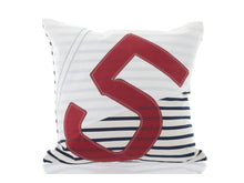Load image into Gallery viewer, This 100% recycled sailcloth cushion comes in a nautical-style blue and white stripes design with an oversized red number '5' at the front . It's a truly unique creation, made from 100% recycled sailcloth - completely in tune with our environment, and in close touch with the world's top yachtsmen. A perfect addition to your kiwi bach, yacht, or indeed outdoor entertainment area at home.
