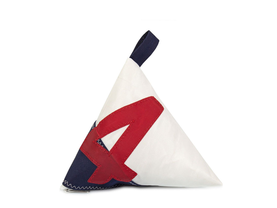 Made of white and red Dacron sail and navy canvas, and adorned with an oversized red number '4', this pyramid-shaped door stopper will add a splash of colour and nautical character to your interior!
