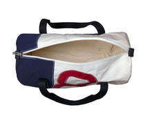 Load image into Gallery viewer, Stylish men's travel bag made in recycled sailcloth. White and blue sail, with oversized red number. Very resistant and perfect size for weekend getaways and short breaks.