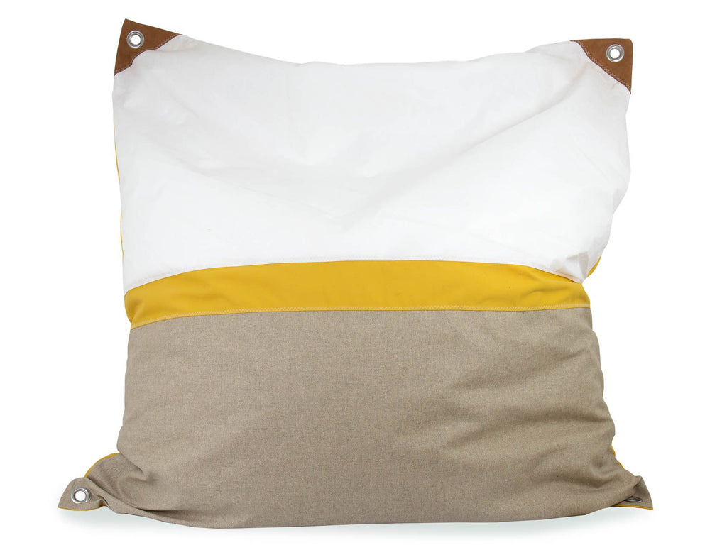 727Sailbags | Maxi Bean Bag | Sail, Linen & Leather | Natural, White & Yellow | Size 140cm x 140cm