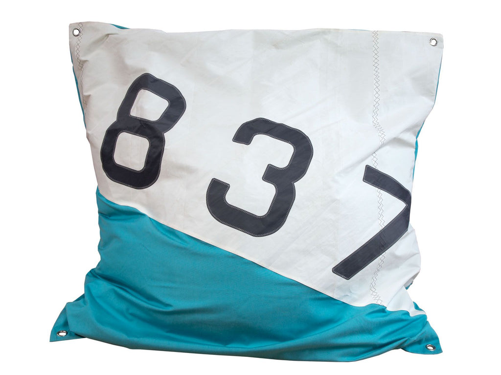 727Sailbags | Maxi Bean Bag | Sail & Marine-Grade Canvas  | White & Light Blue | Size 140cm x 140cm