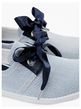 Load image into Gallery viewer, 'Marina' model comes packed with elegant details such as blue silk ribbon shoelaces which complement beautifully its nautical inspiration with oversized eyelets and leather yokes.