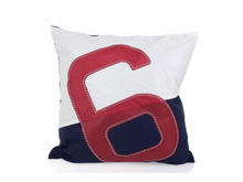 Load image into Gallery viewer, 50x50 cushion made from 100% recycled sails. White and navy adorned with an oversized red number.