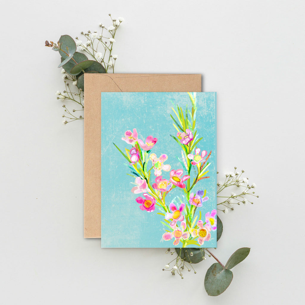 A6 blank notecard of a Geraldton wax flower. Native Australian flowers. Made in Australia and printed using 100% earth friendly materials