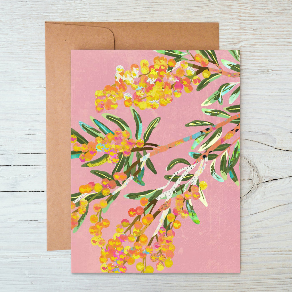 A6 Notecard with a yellow, orange, green Acacia flower illustration on pink background