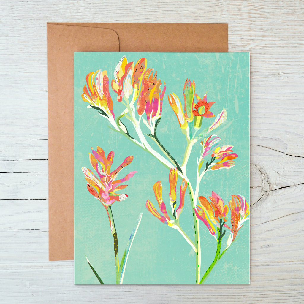 Kangaroo Paws A6 Notecard - Braw Paper Co