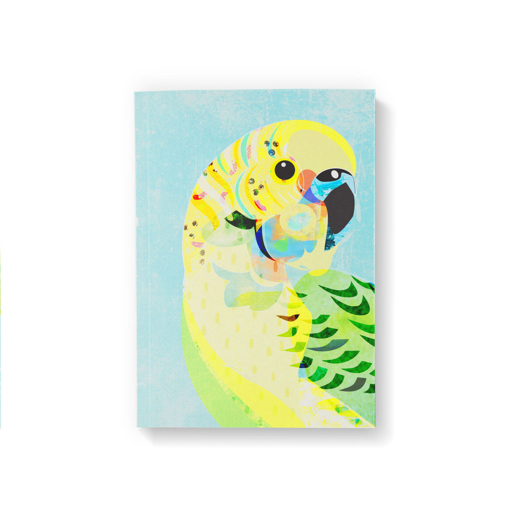 A6 pocket notebook with a green and yellow Budgerigar bird illustration on light blue background.