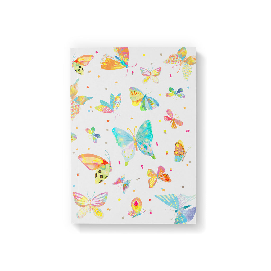 A6 pocket notebook with a bright, colourful butterfly illustration on white background.