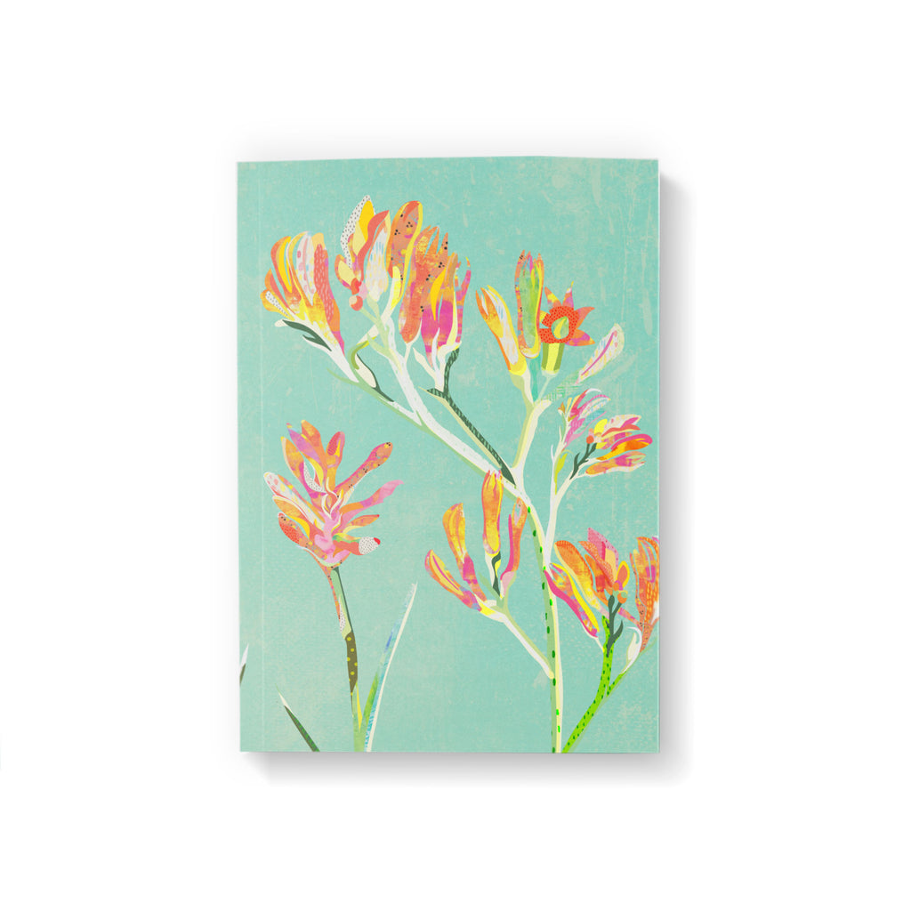 A6 pocket notebook with a red, yellow, orange and pink kangaroo paw flower illustration on a mint green background.