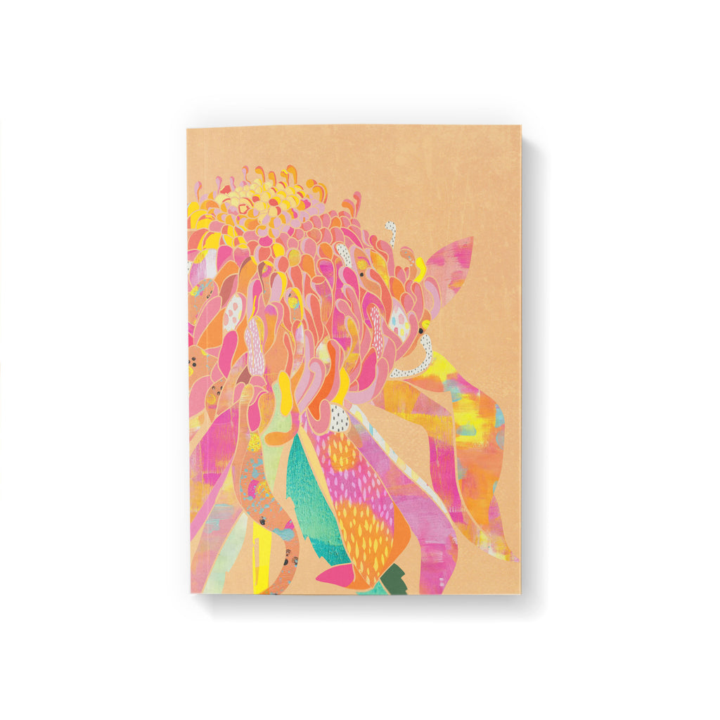 A6 pocket notebook with a pink, yellow and orange Waratah flower illustration on peach colour background.