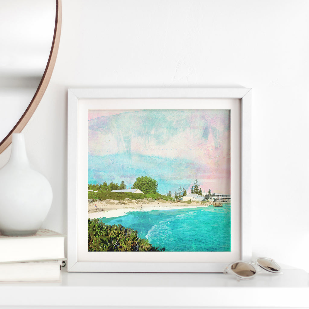Art Print with illustration of Bather's Beach in Western Australia with turquoise water, sand dunes, buildings and trees.