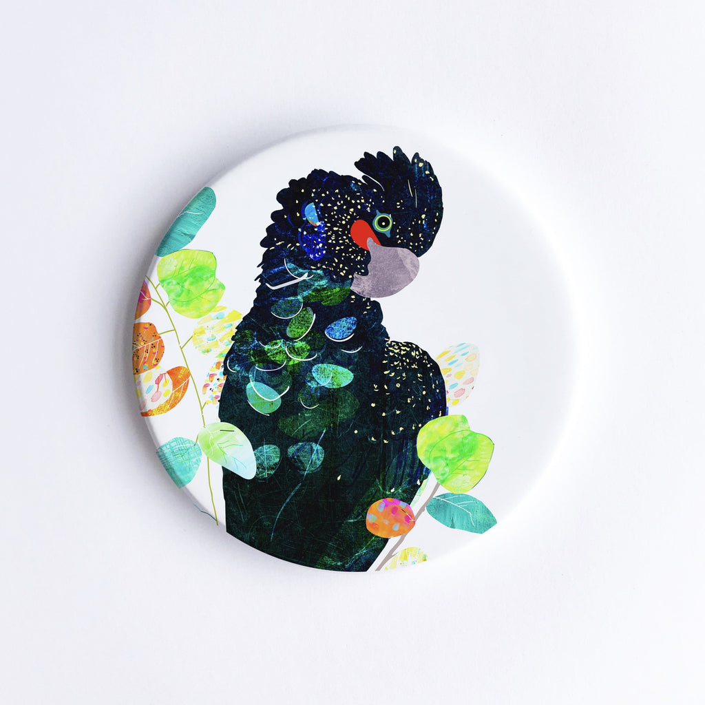 Red-Tailed Black Cockatoo Ceramic Coaster - Braw Paper Co