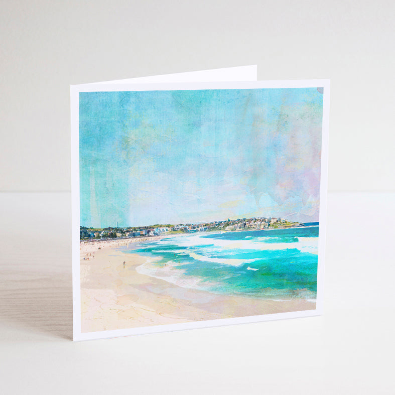 Square Notecard with illustration of Bondi Beach in Sydney showing waves and houses on a hill in the background.