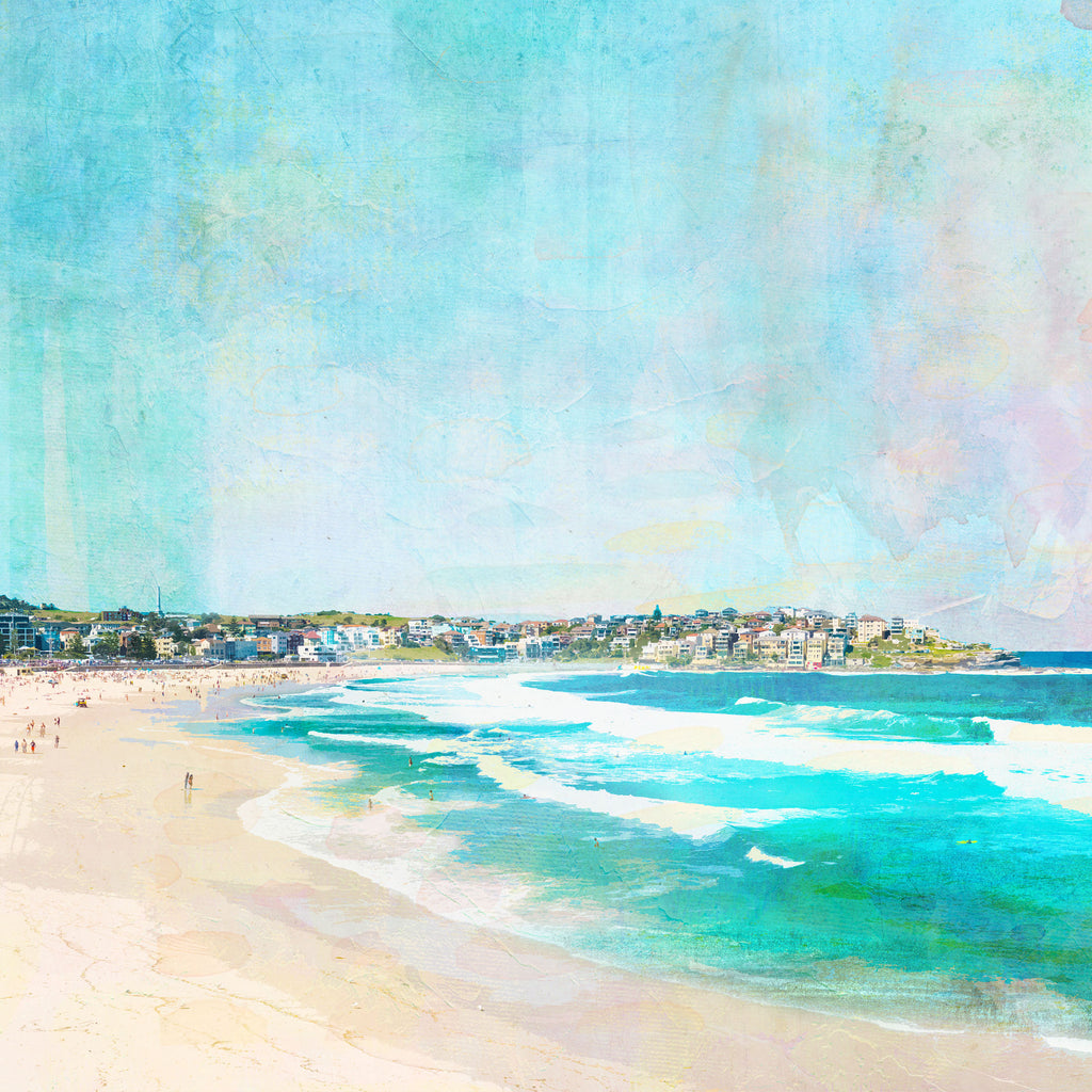 Art Print with illustration of Bondi Beach in Sydney showing waves and houses on a hill in the background.