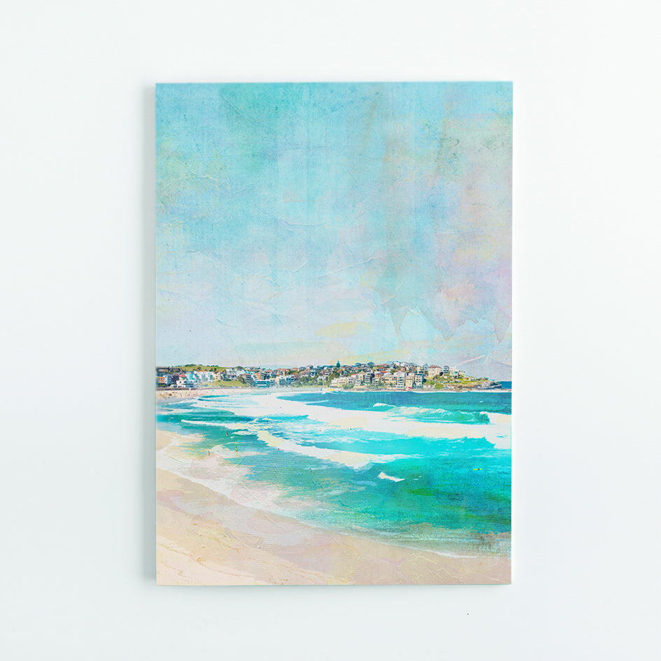 A5 Journal with illustration of Bondi Beach in Sydney showing waves and houses on a hill in the background.