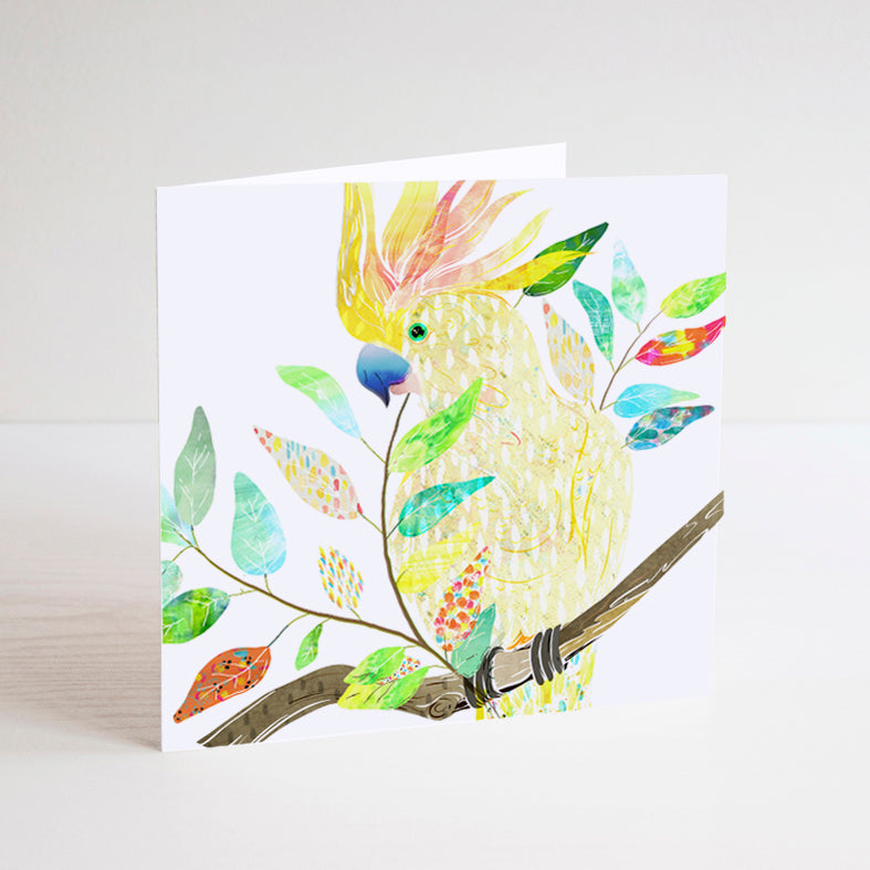 Sulphur-Crested Cockatoo Mini Card - Braw Paper Co