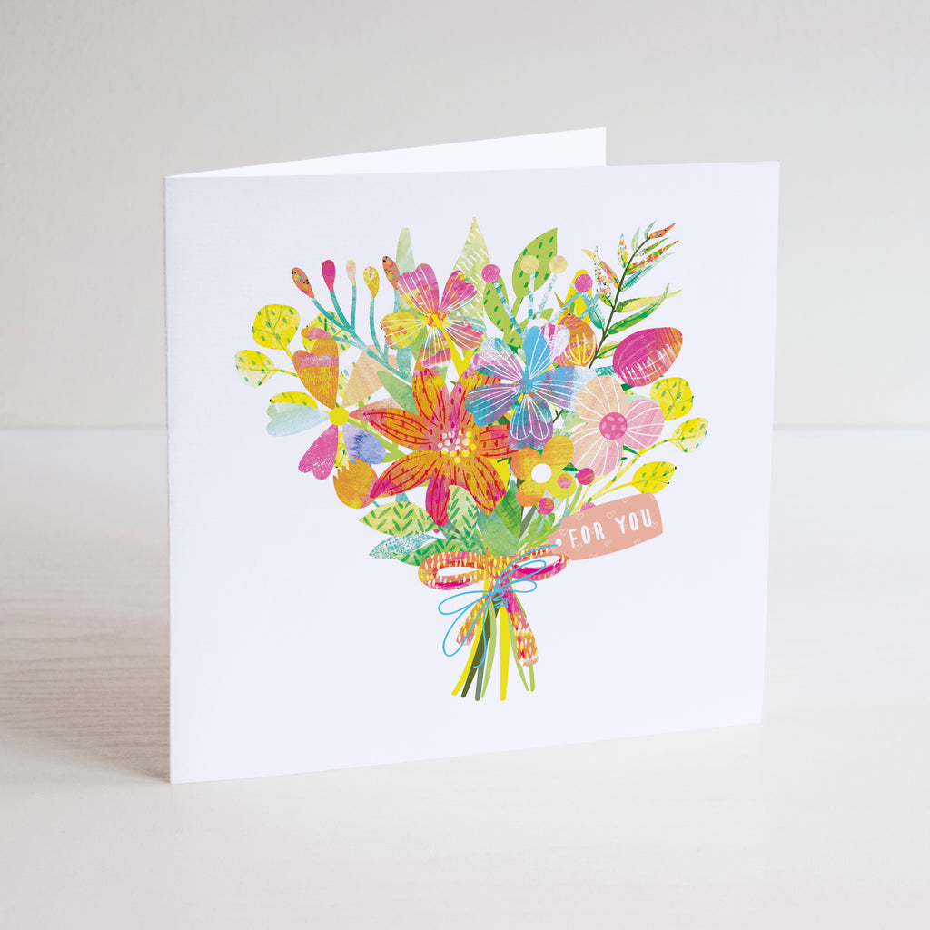 For you birthday card with colourful flower bouquet illustration on white background.