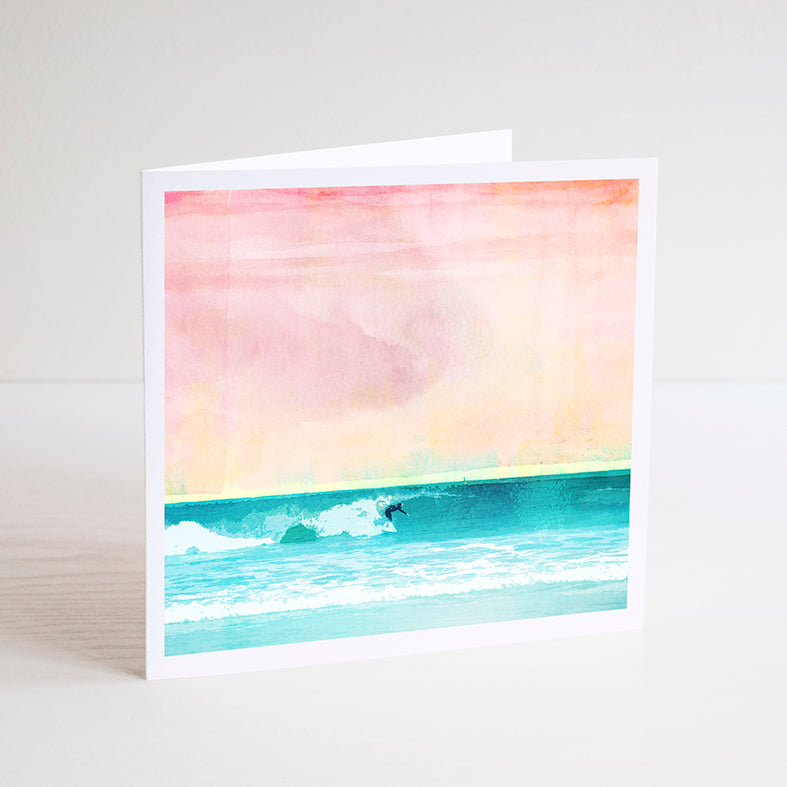 Solo Surfer at Leighton Beach Notecard - Braw Paper Co