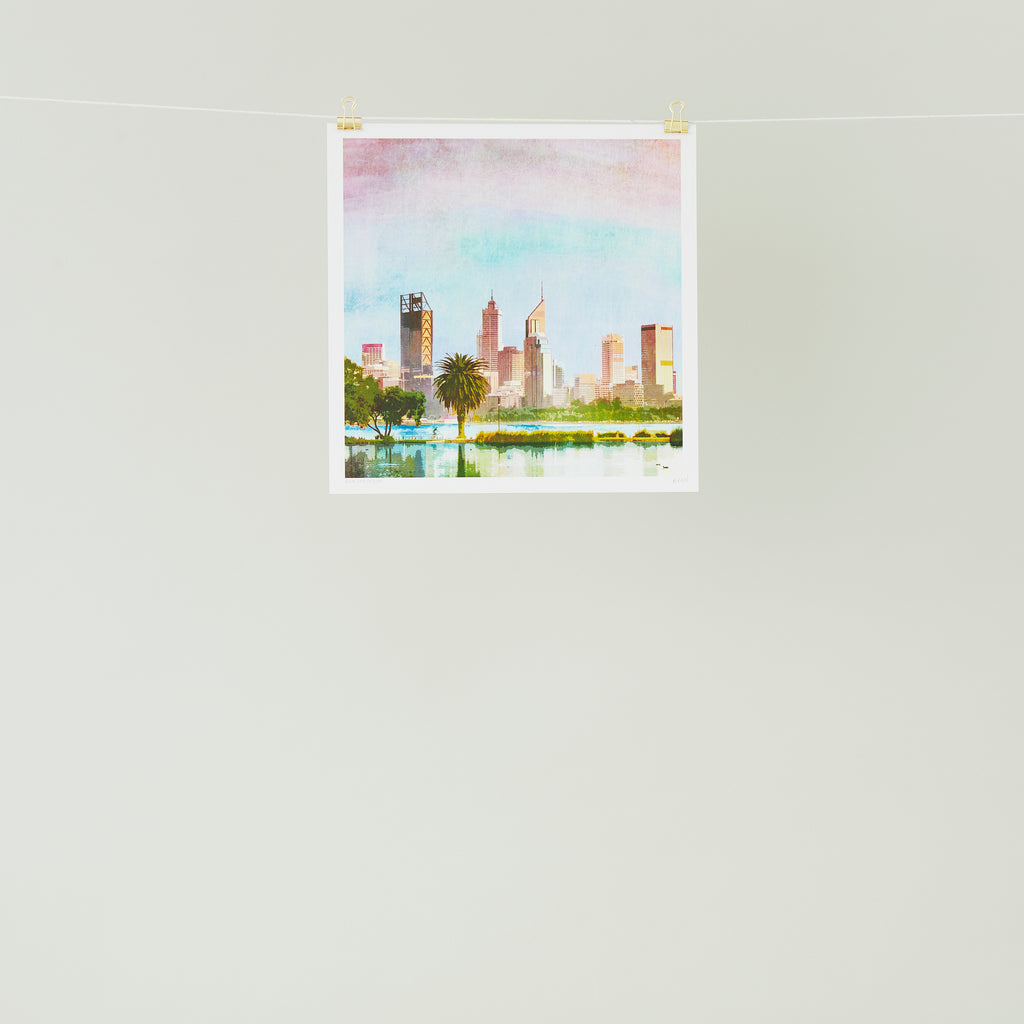 Perth City Skyline Art Print - Braw Paper Co