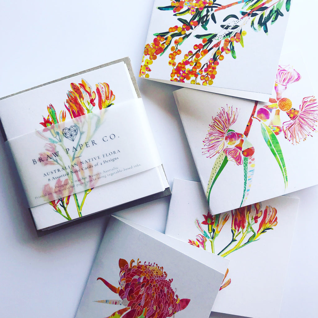 Australian Native Floral Mini Card Set of 8 - Braw Paper Co