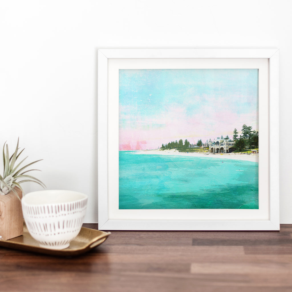 Art print with illustration of Cottesloe Beach and the Indiana teahouse surrounded by trees during sunset