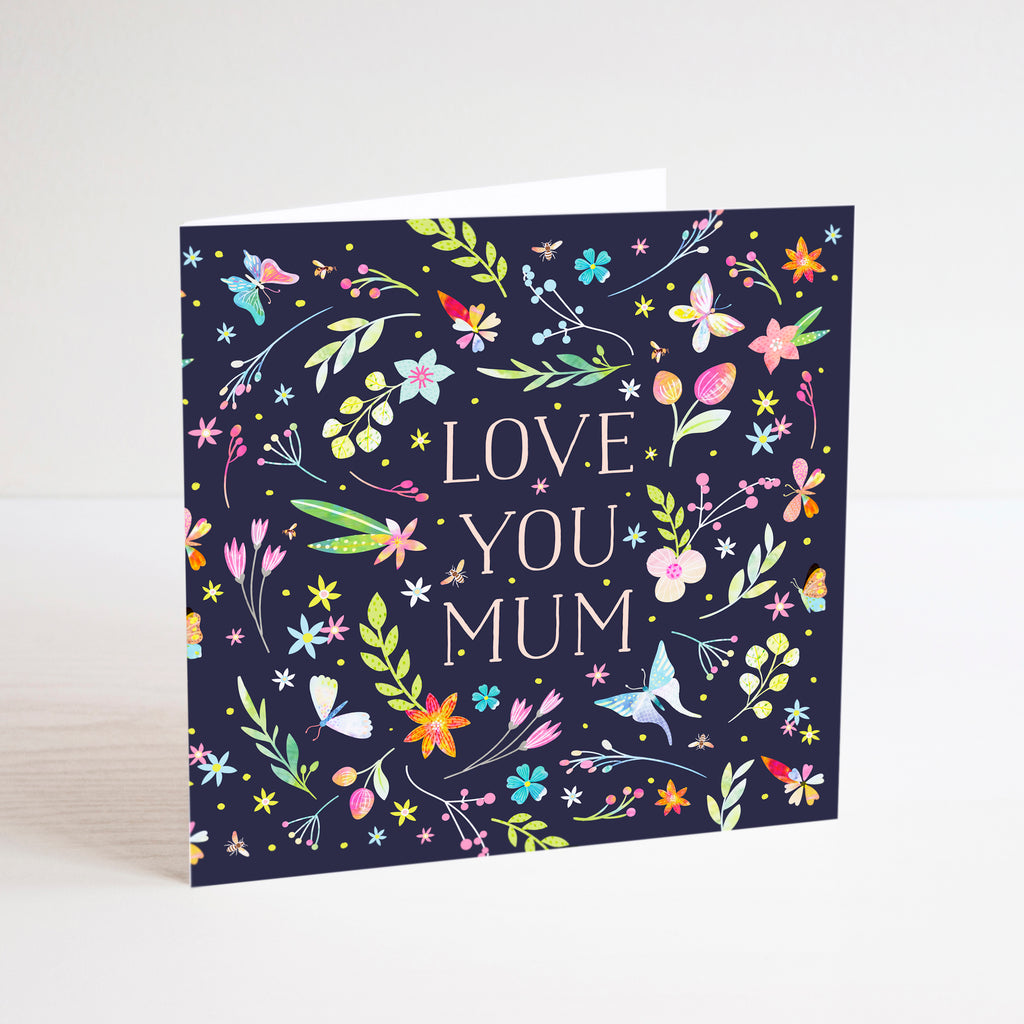 Colourful Love you Mum Mother's Day card with flower and butterfly illustration.