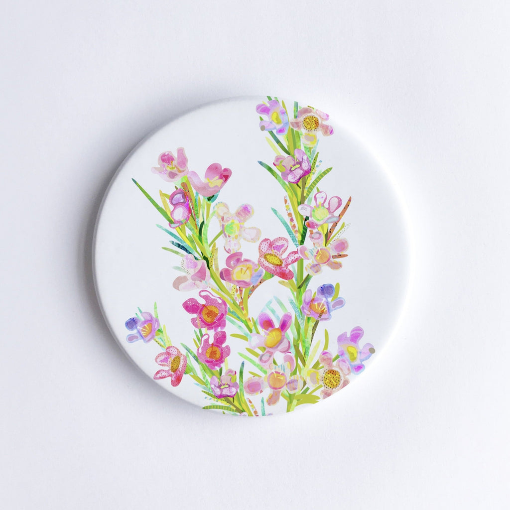 Geraldton Wax Flower Ceramic Coaster - Braw Paper Co
