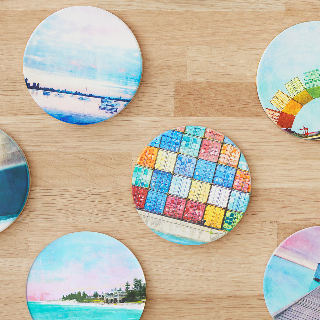 Australian Landscapes Multi-Buy 4 round ceramic coasters.