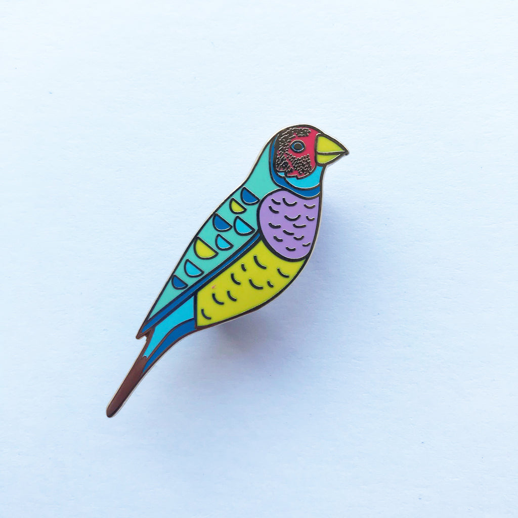 Gouldian Finch Enamel Pin - Braw Paper Co