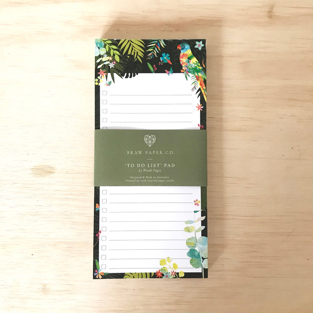 Lined to do list notepad with a lorikeet bird, butterflies and Australian native flora illustration.