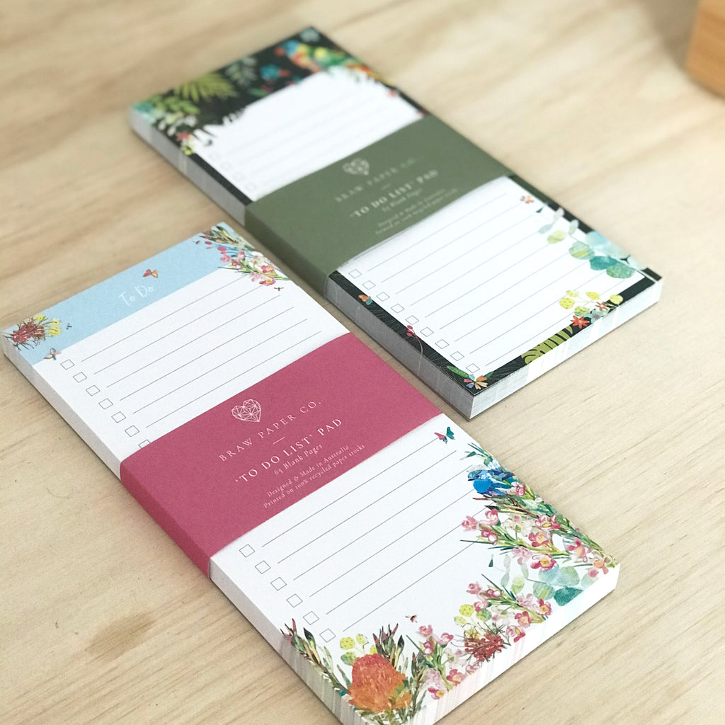 Two to do list pads next to each other with Australian native fauna and flora illustration.