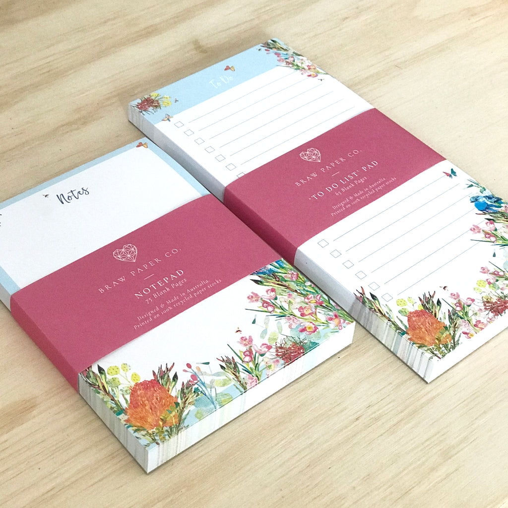 Blank Notepad - 'Spring Bush Birds' - Braw Paper Co