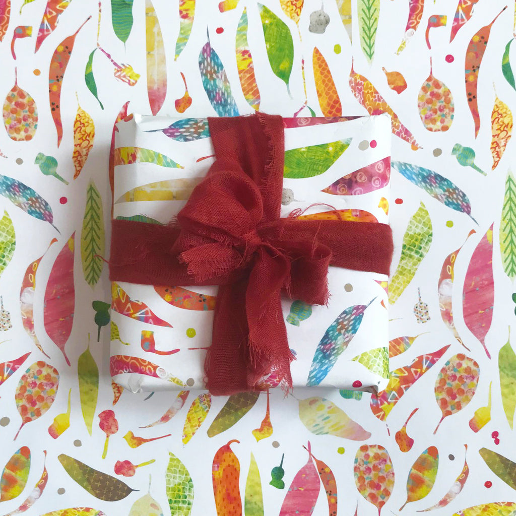 Gift Wrap - 'Fallen Gum Leaves' - Braw Paper Co