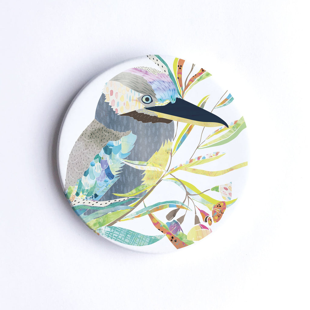 Blue-Winged Kookaburra Ceramic Coaster - Braw Paper Co