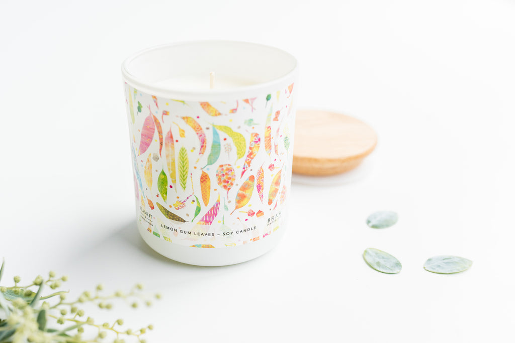 Lemon Gum Leaves Soy Candle 400ml - Braw Paper Co