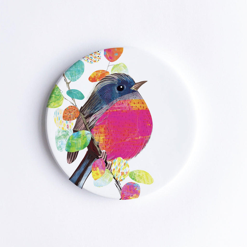 Pink Robin Ceramic Coaster - Braw Paper Co