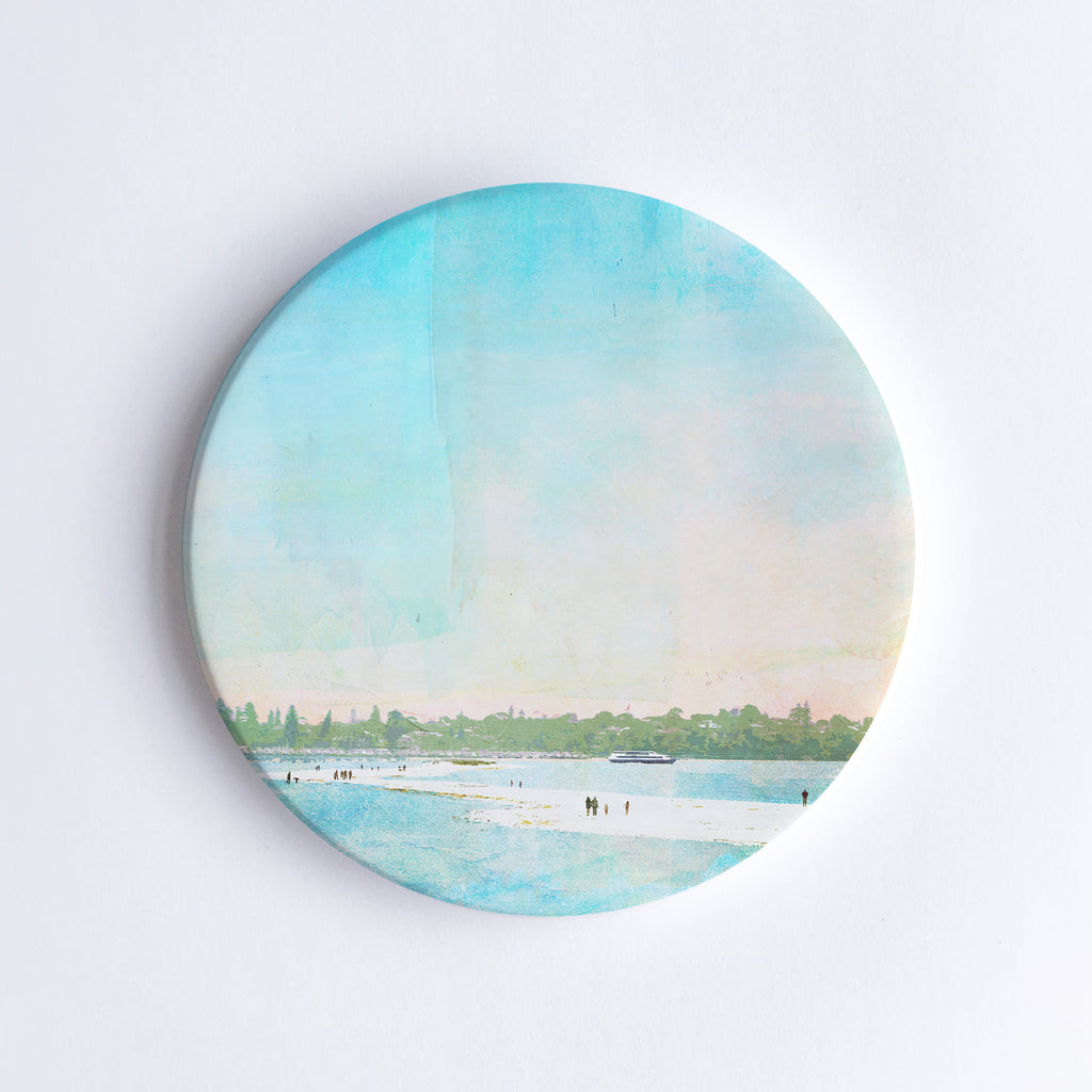 The Sandbar at Point Walter Ceramic Coaster - Braw Paper Co