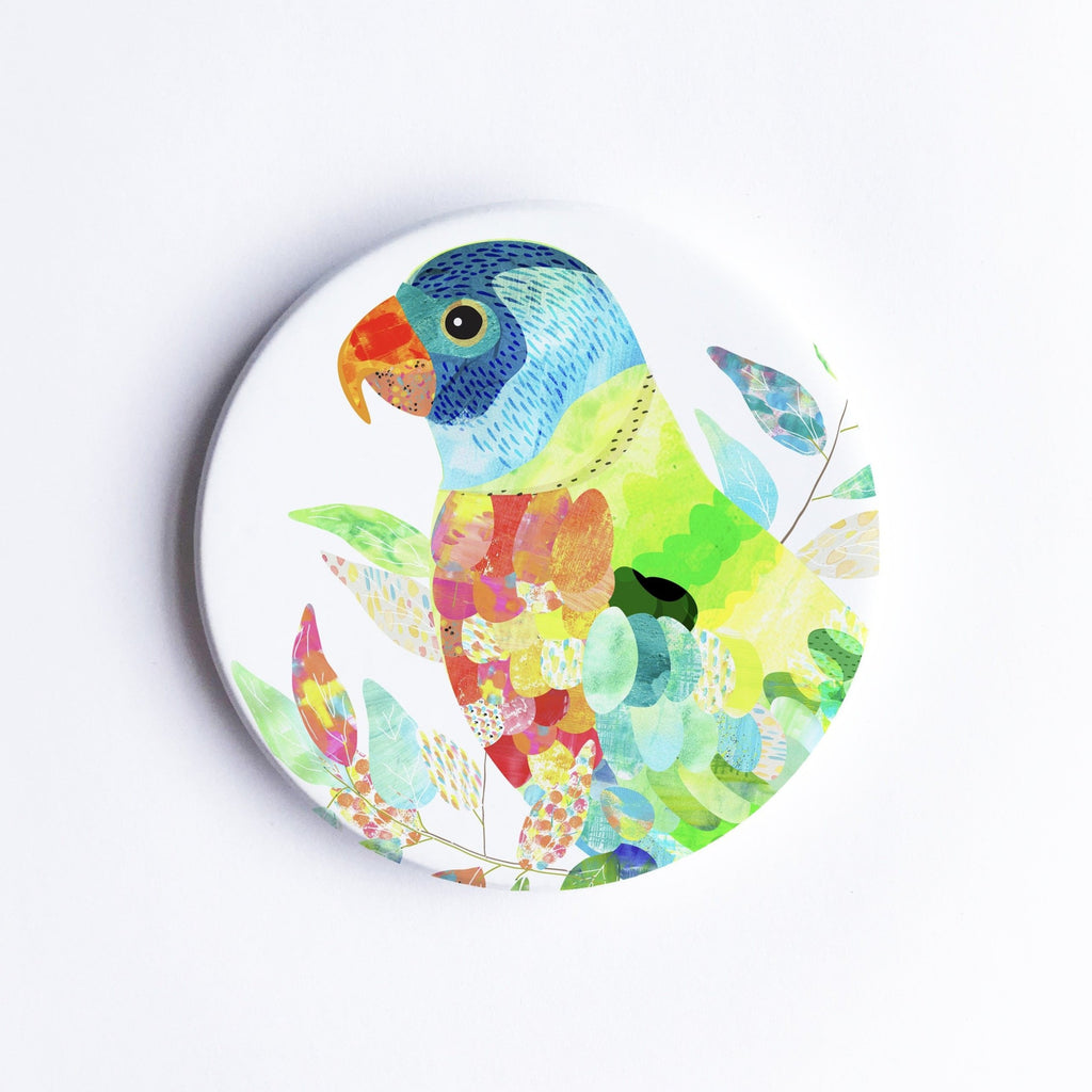 Rainbow Lorikeet Ceramic Coaster - Braw Paper Co