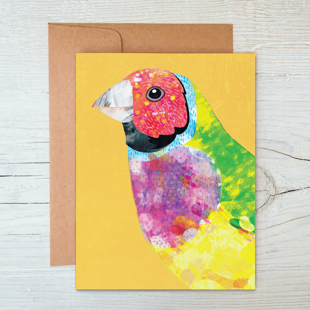Gouldian Finch A6 Notecard - Braw Paper Co