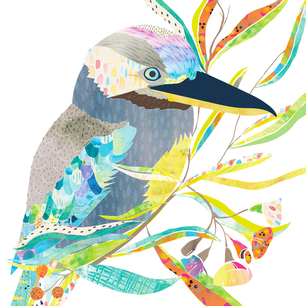 Blue-Winged Kookaburra Mini Card - Braw Paper Co