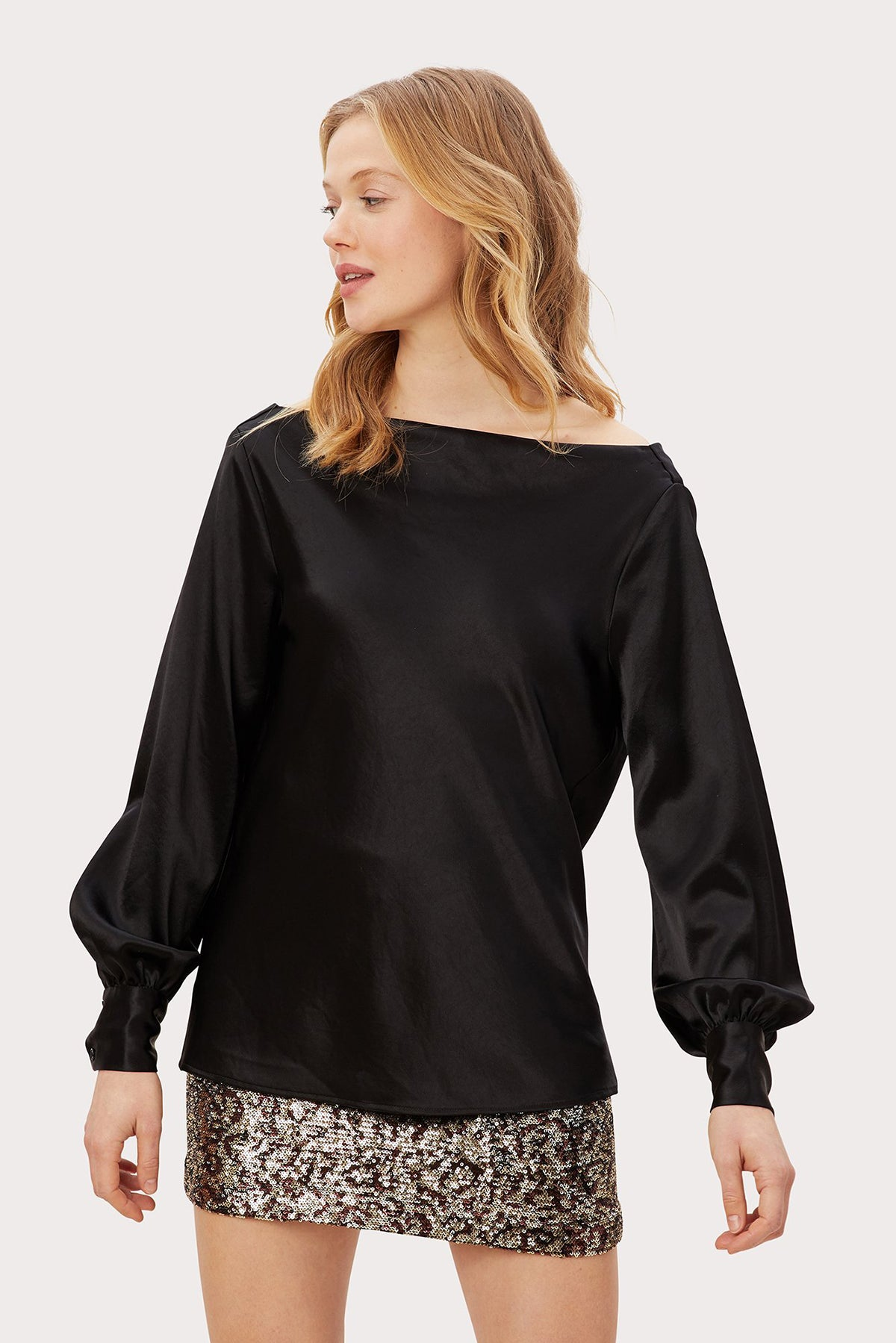 Hammered Satin Rachele Cowl Back Top