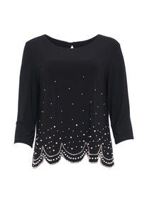 Long Sleeve Top With Pearl Stud Bottom
