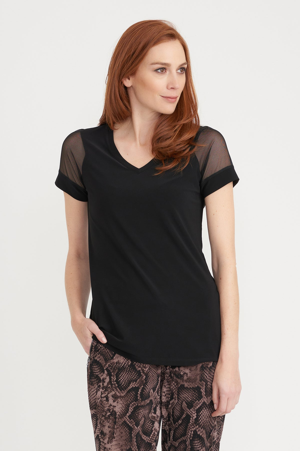 Tee With Mesh Sleeve Detail