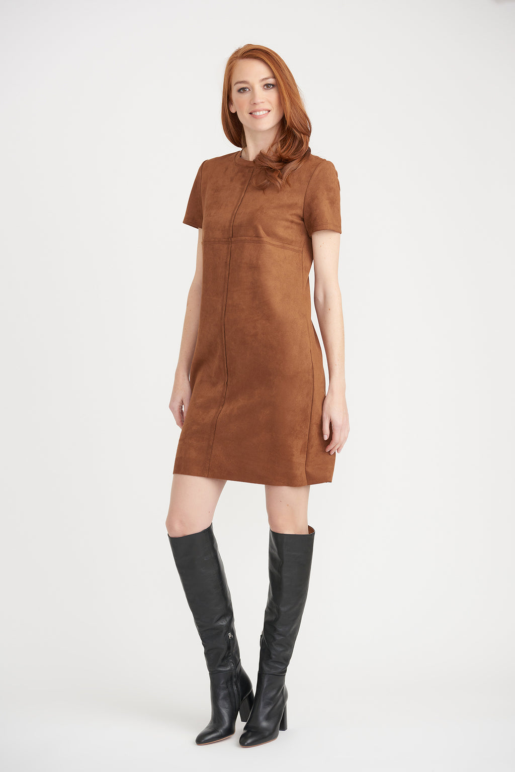 Suede Short Sleeve Dress