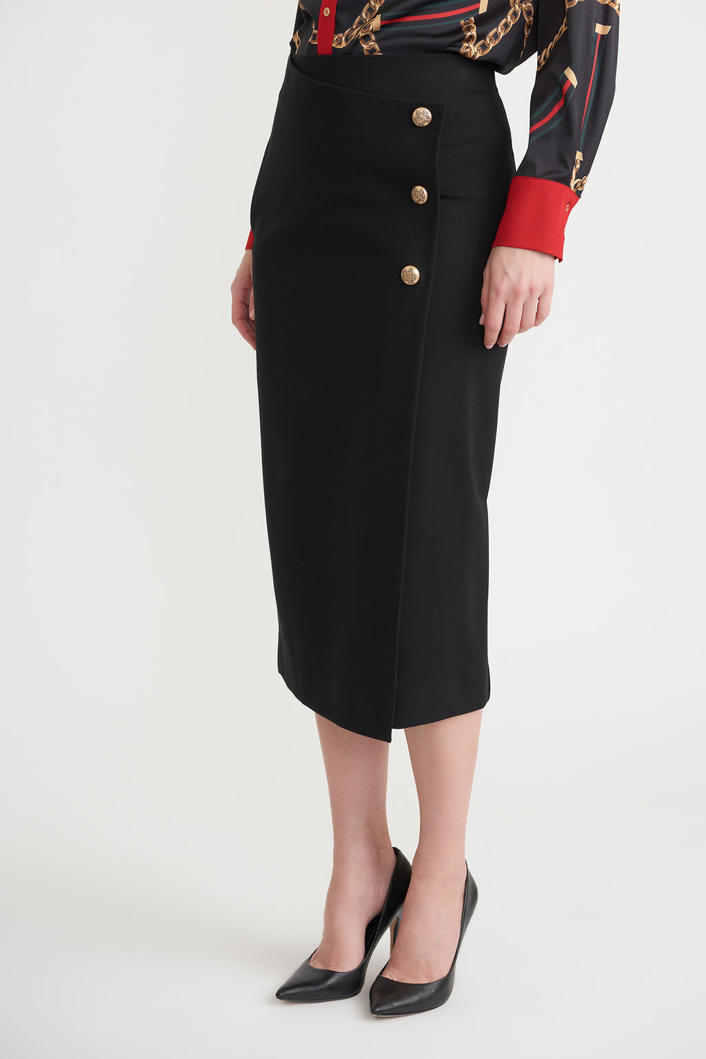 Pencil Skirt With 3 Gold Buttons