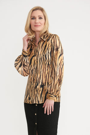 Tiger Button Up Top
