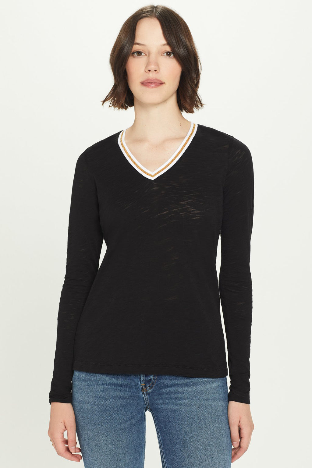 Metallic Tipped Long Sleeve V-Neck