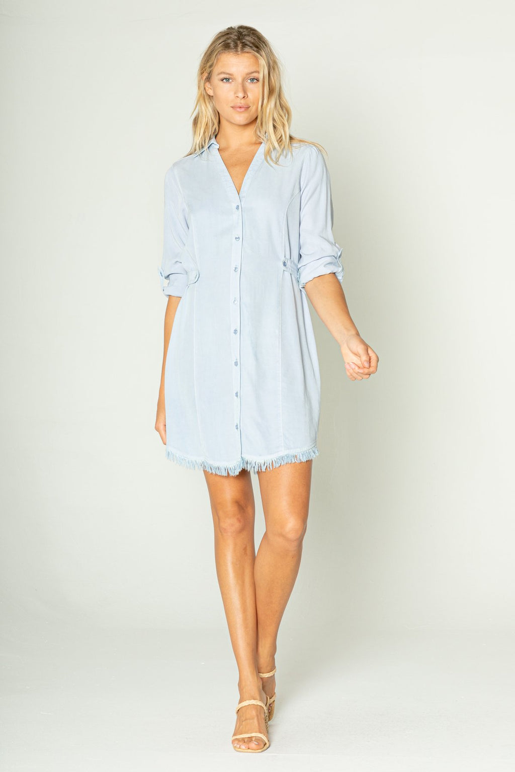 Fray Button Down Dress